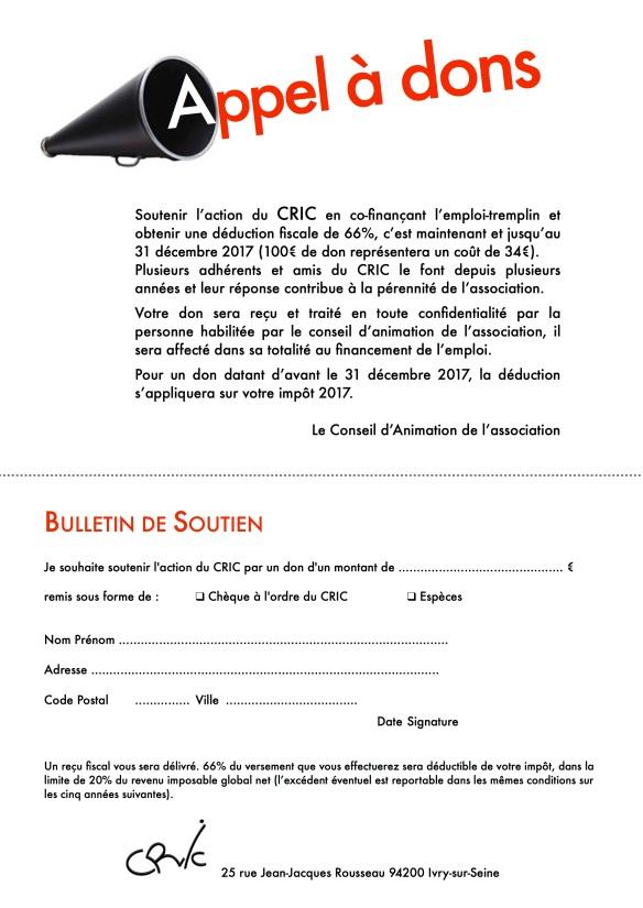 Appel à dons CRIC